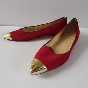 Ivanka Trump point toe flats berry and gold 6.5 M